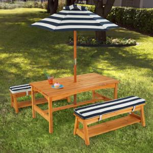 Holz Kinder Gartengarnitur Picknick mit Kissen und Sonnenschirm - Kidkraft (00106)