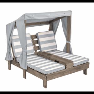 Dubbele Chaise Lounge Met Bekerhouders - Grijs